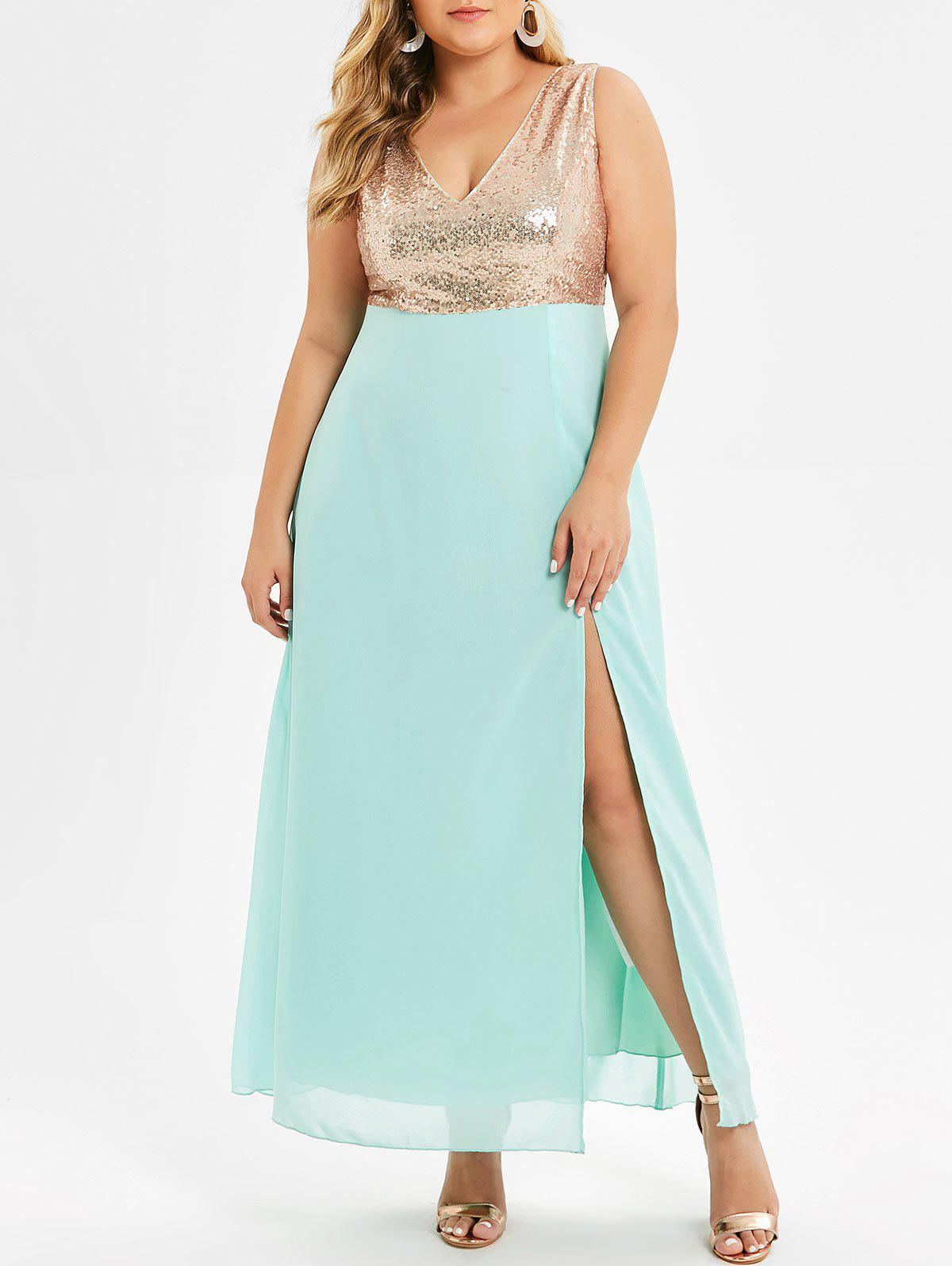 Outfits Plus Size Sequin High Slit Maxi Party Dress