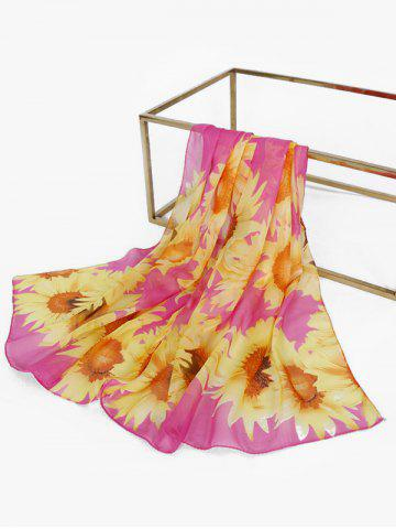 Sunflower Print Chiffon Long Scarf