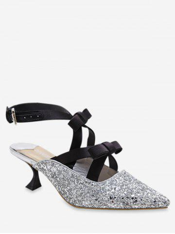 Glitter Pointed Toe Bow Mid Heel Pumps