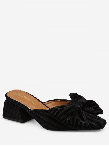 Pleated Bow Pointed Toe Suede Slides