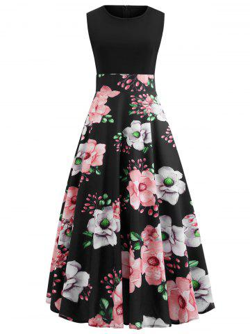 Round Neck Floral Print Sleeveless Maxi Dress