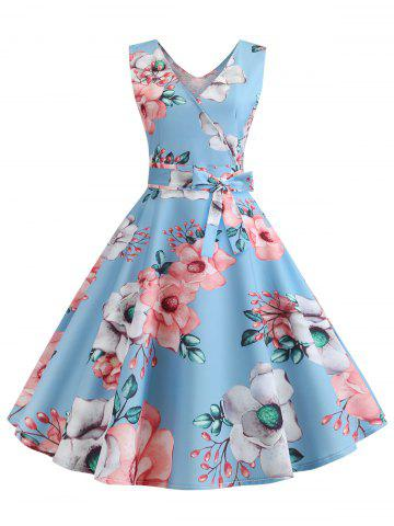 Floral Print Sleeveless Belted Flare Dress