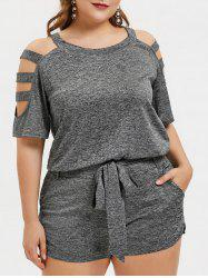Plus Size Cut Out Marled T-shirt with Shorts Two Piece Outfits -