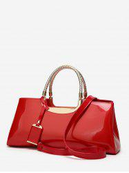 Patent Leather Pendant Rectangle Handbag -