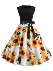 Vintage Sunflower Print Belted Flare Dress -