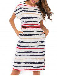 Split Striped Pocket Dress -