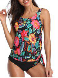 Floral Print Padded Knotted Tankini Set -