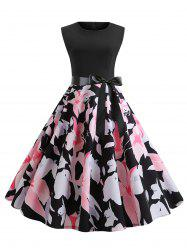 Floral Print Belted Sleeveless Flare Dress -