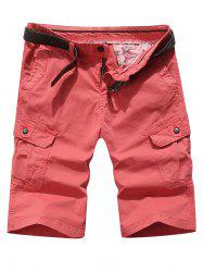 Solid Color Pocket Cargo Shorts -