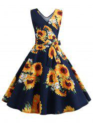 Sunflower Print Sleeveless Belted Flare Dress -