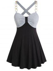 Plus Size Contrast Sweetheart Collar Tank Top -