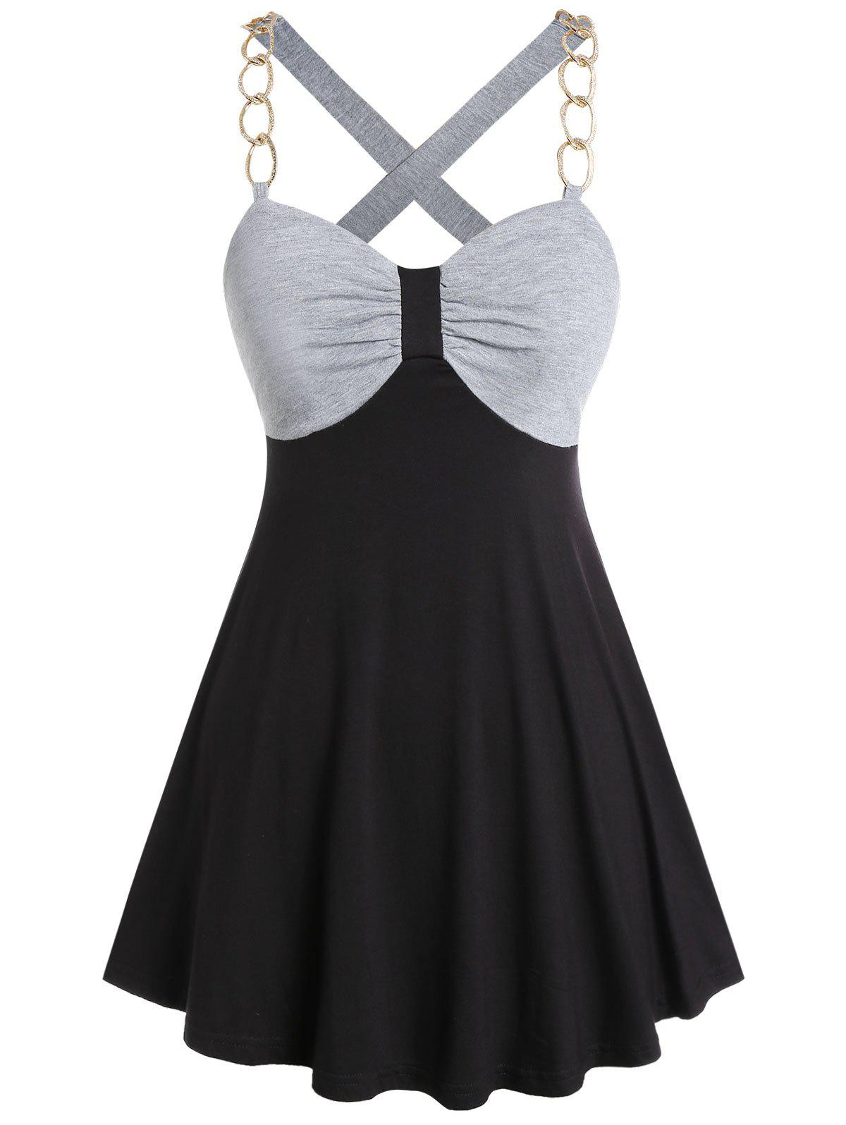 Online Plus Size Contrast Sweetheart Collar Tank Top