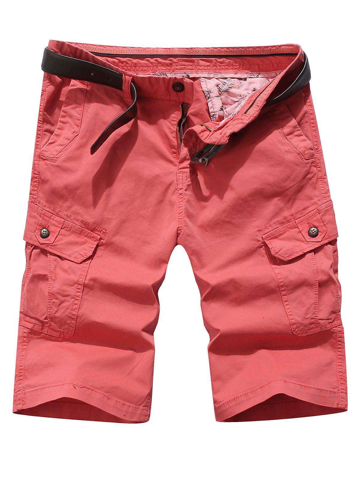 Fashion Solid Color Pocket Cargo Shorts