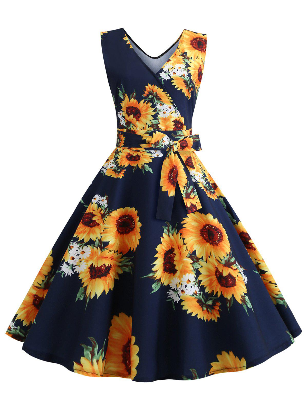 Latest Sunflower Print Sleeveless Belted Flare Dress