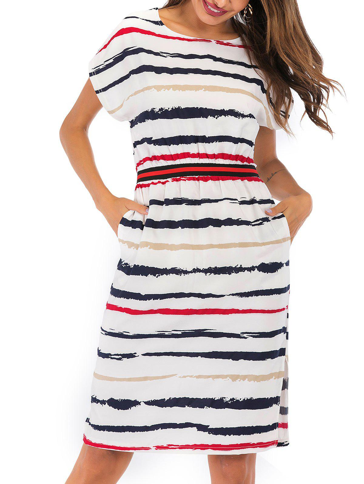 Outfit Split Striped Pocket Dress