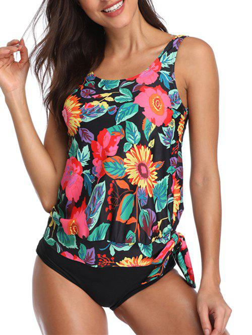 Discount Floral Print Padded Knotted Tankini Set