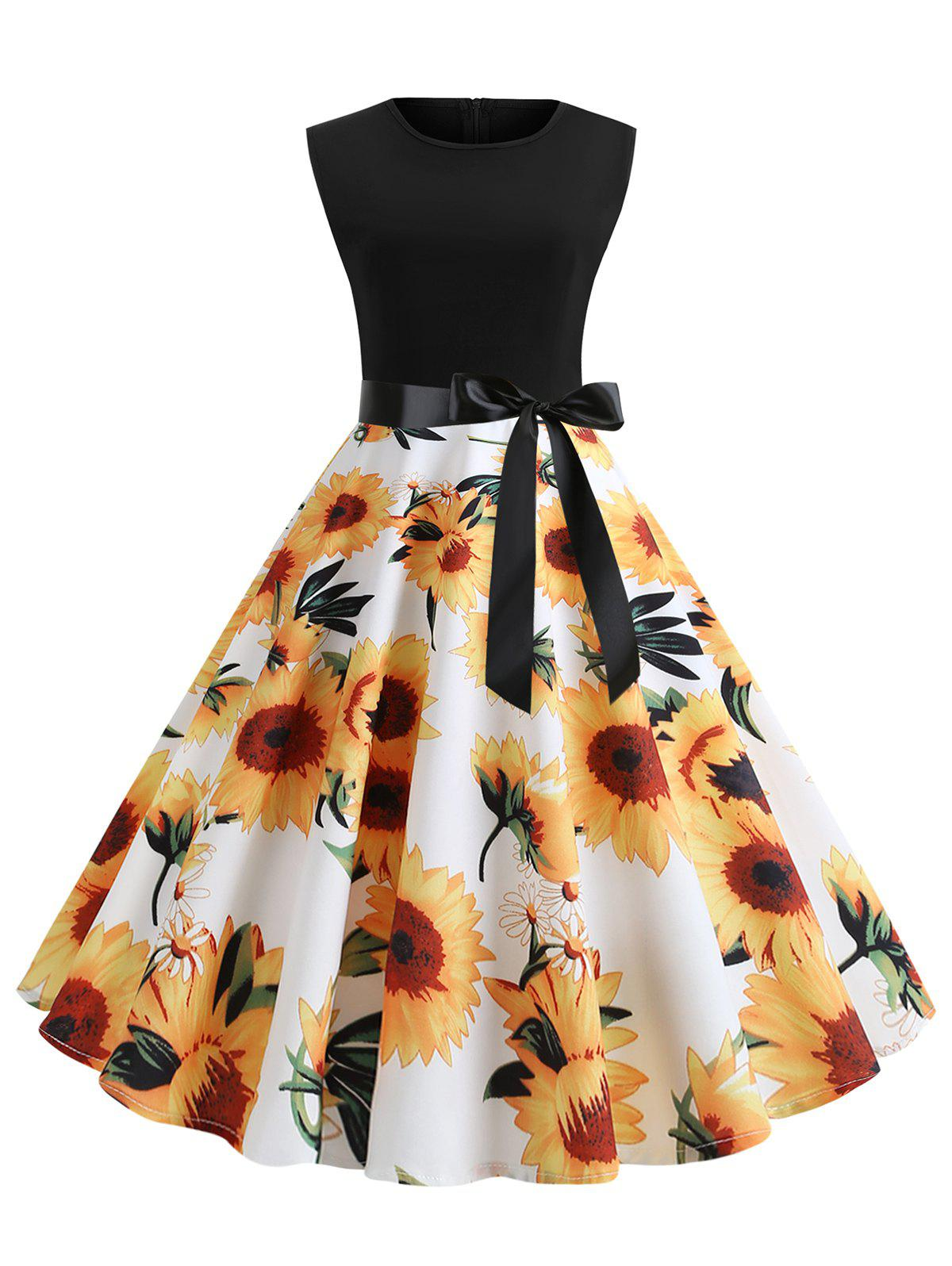 Discount Vintage Sunflower Print Belted Flare Dress