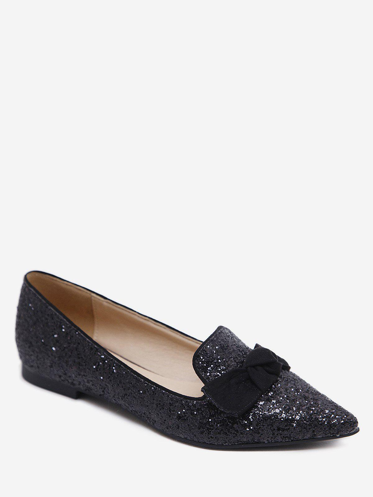 Hot Gradient Sequined Pointed Toe Bow Flats