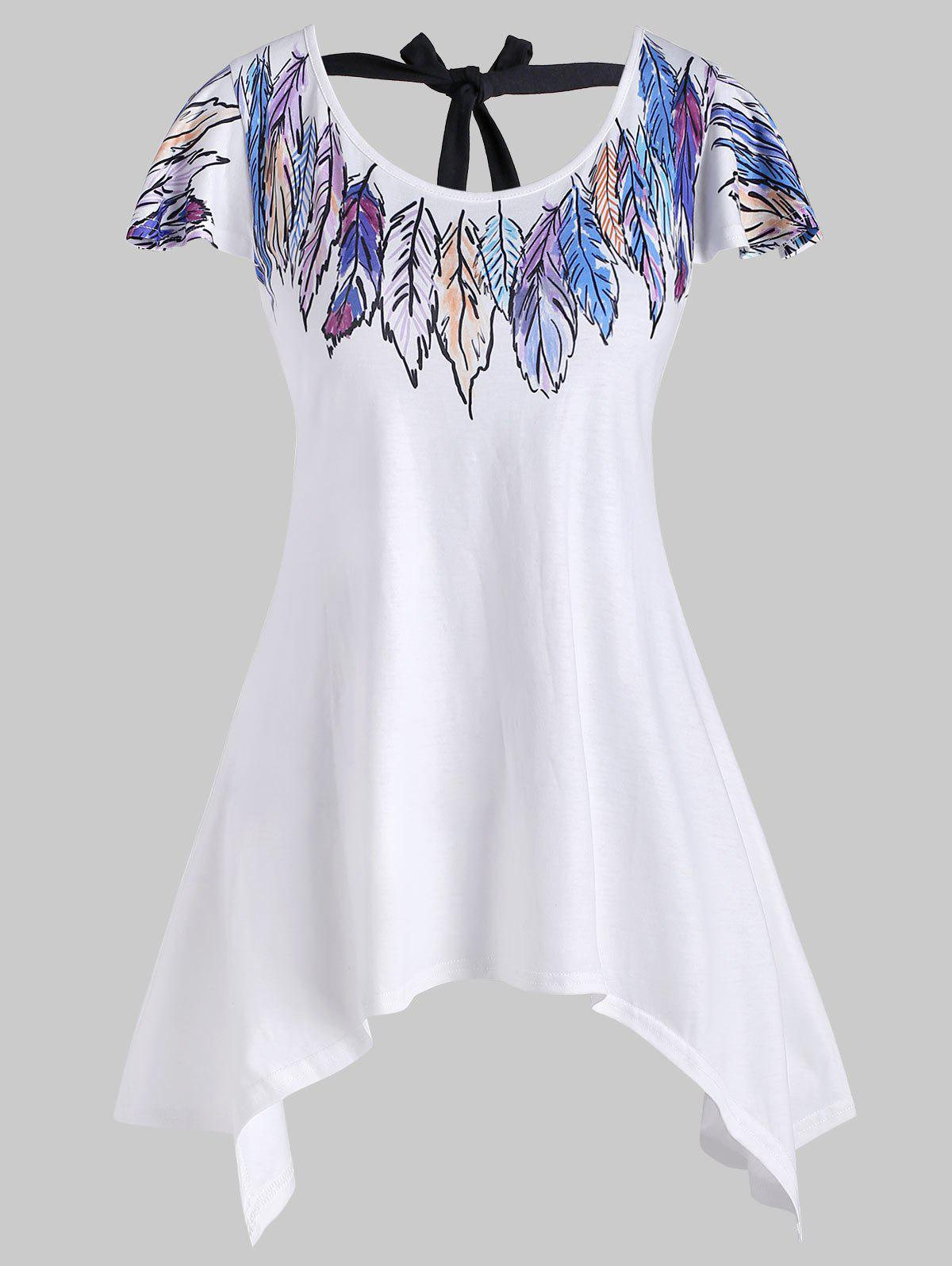 Feather Print Tie Back Longline T-shirt