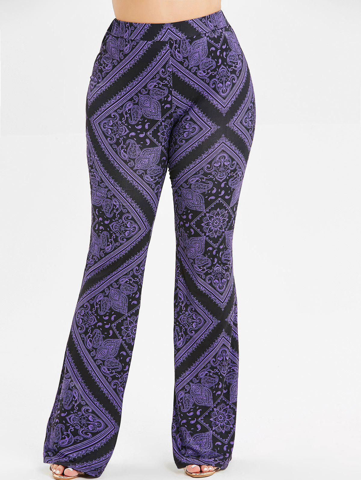 Affordable Plus Size Printed Boot Cut Pants