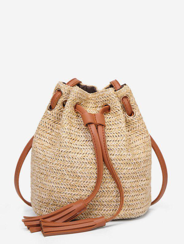 Outfits Woven Straw Drawstring Bucket Bag
