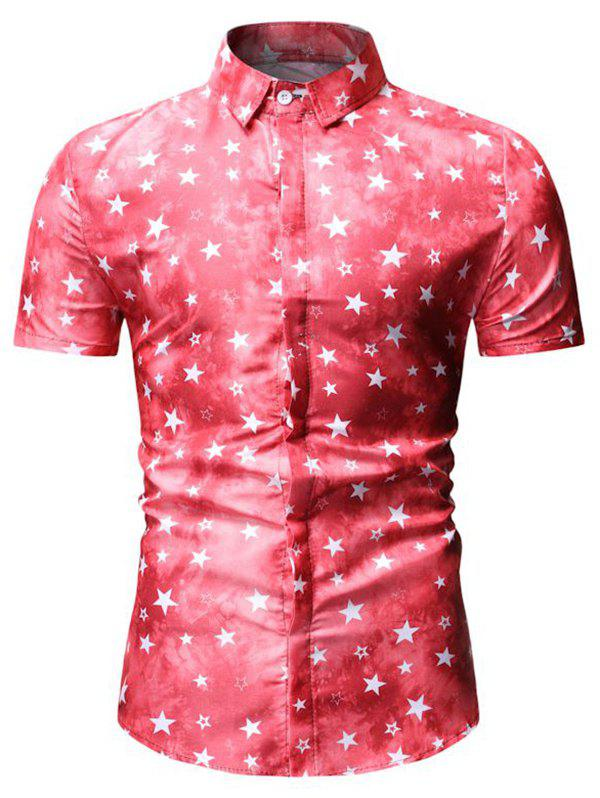 Chic Star Print Short Sleeve Shirt