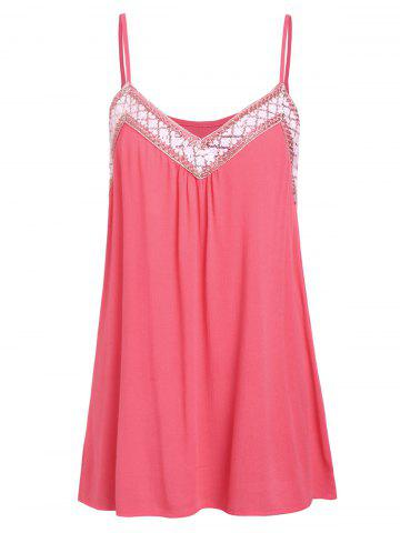 Cami Lace Panel Flare Tank Top
