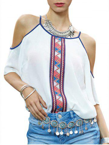 Open Shoulder Printed Casual Blouse