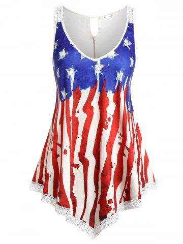 Plus Size American Flag Print Tank Top