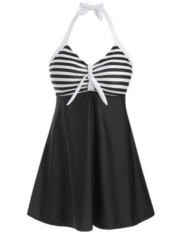 Knot Striped Halter Tankini Set