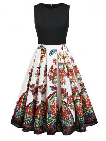 Tribal Print Sleeveless A-line Vintage Dress