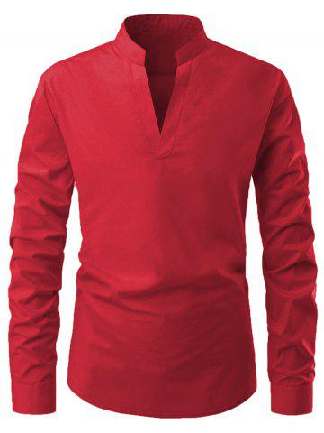 Long Sleeves Solid Color V-neck Shirt