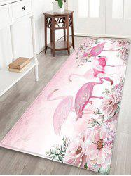 Flamingo and Flowers Pattern Water Absorption Area Rug -