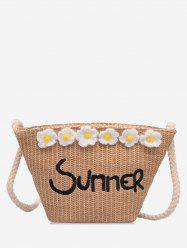Straw Summer Flower Pattern Shoulder Bag -
