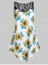 Plus Size Asymmetrical Sunflower Print Tank Top -