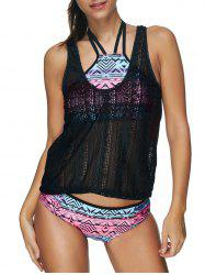 Geometric Lattice Bikini with Crochet Tank Top -