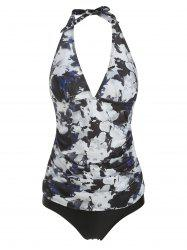 Halter Ruched Floral Tankini Set -
