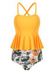 Scalloped Trim Floral Tankini Set -