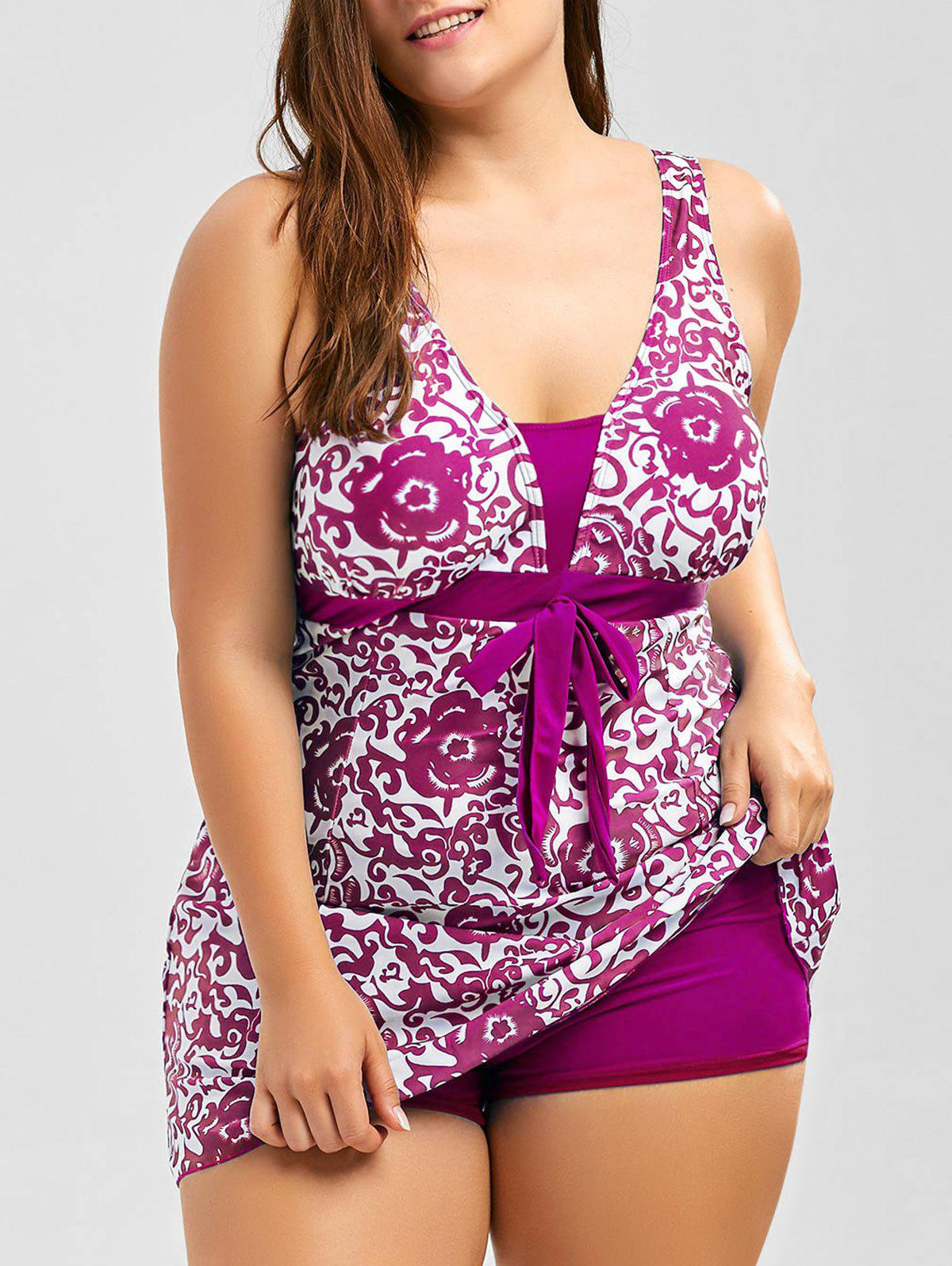 Discount Paisley and Floral Skirted Plus Size Swimsuit