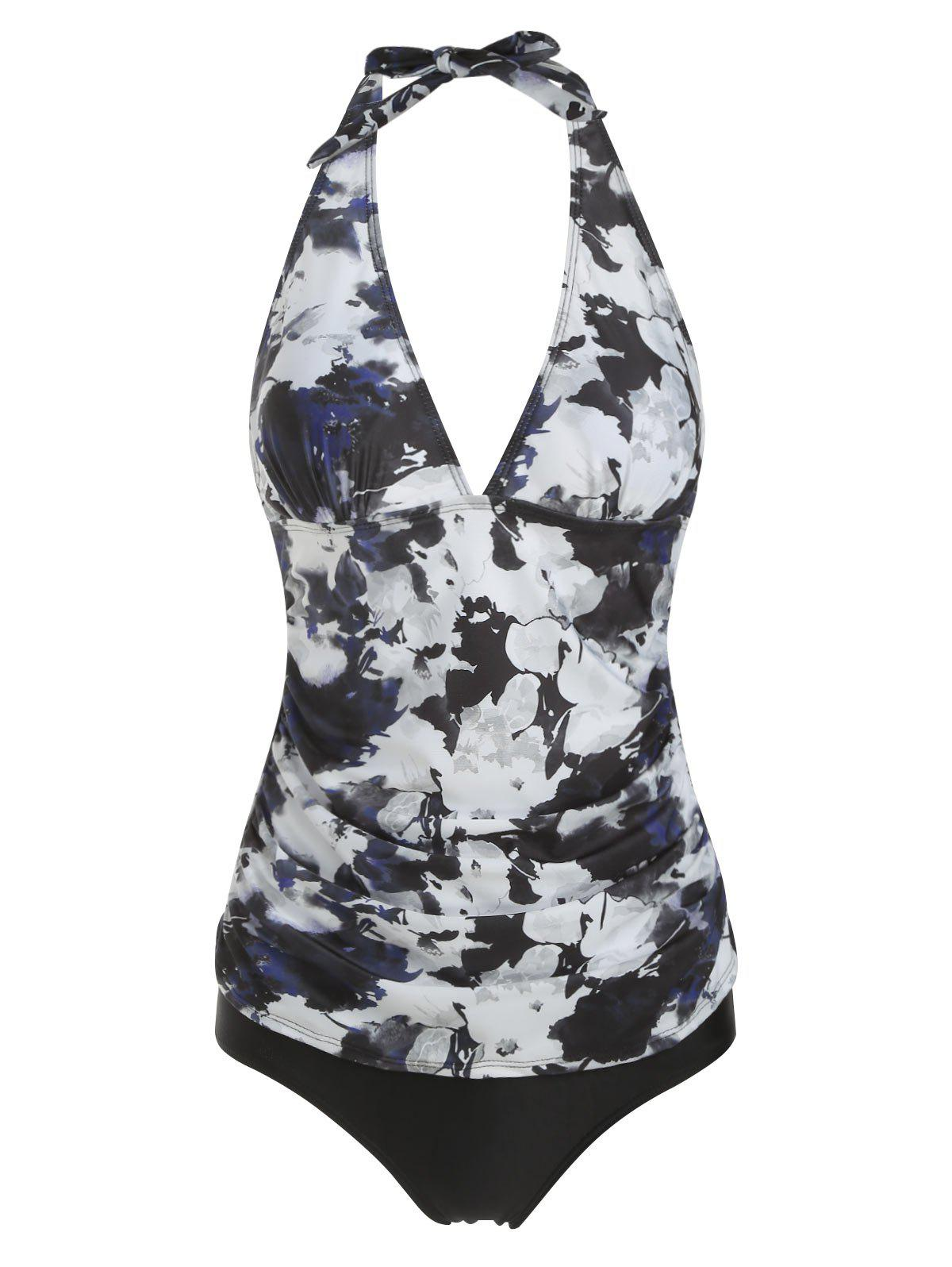 Chic Halter Ruched Floral Tankini Set