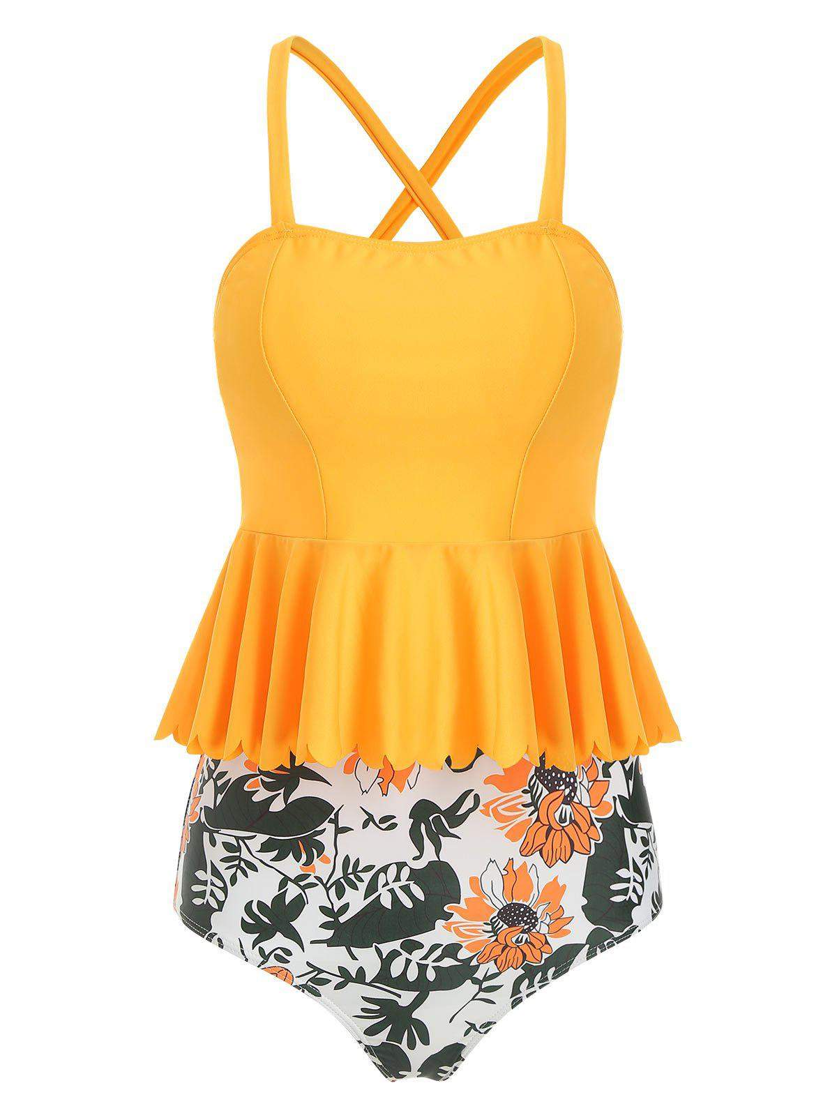 Outfits Scalloped Trim Floral Tankini Set