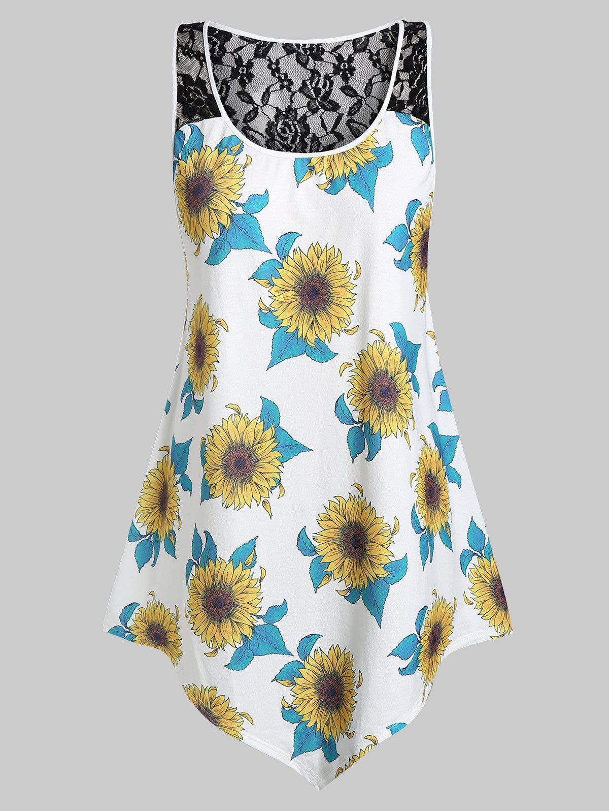 Plus Size Asymmetrical Sunflower Print Tank Top