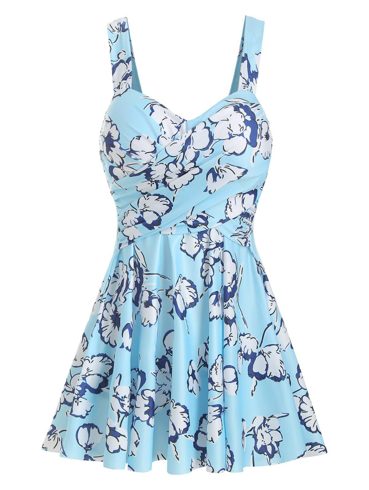 Best Floral Cross-over Underwire Tankini Set