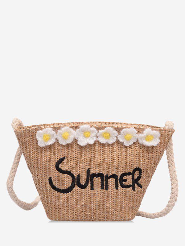 Fancy Straw Summer Flower Pattern Shoulder Bag
