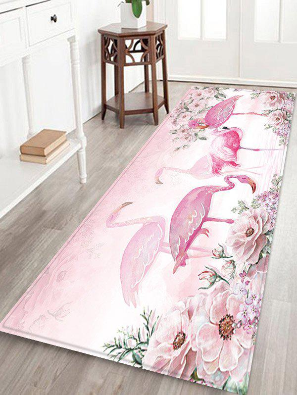 Outfits Flamingo and Flowers Pattern Water Absorption Area Rug