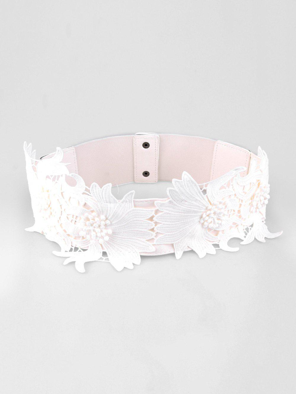 New Lace Elastic Flower Dress Wide Belt