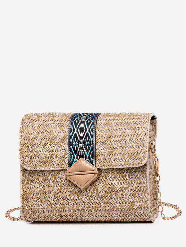 Fancy Ethnic Square Straw Shoulder Bag