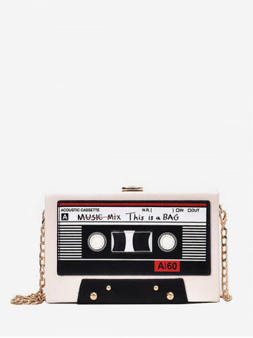 Square Music Tapes Chain Crossbody Bag