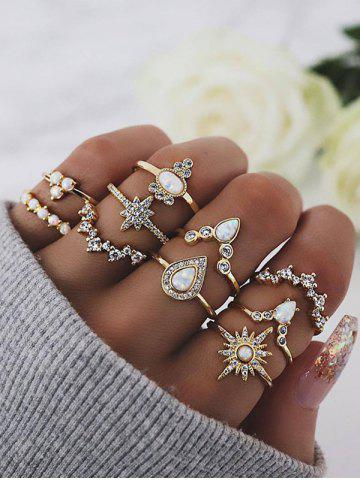 10Pcs Geometric Rhinestone Ring Set