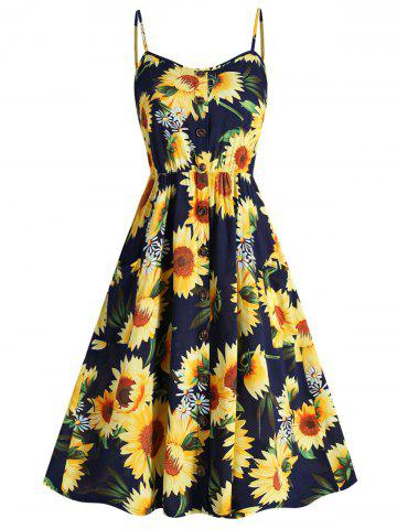 Plus Size Sunflower Print Cami Dress